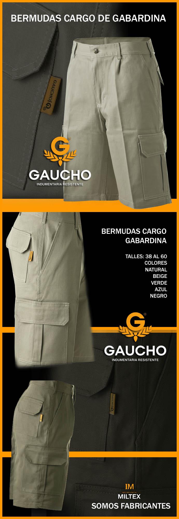 Bermudas Cargo Gabardina